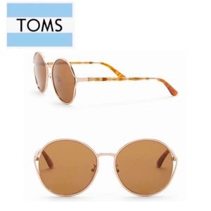 """TOMS 58mm """"Blythe"""" Round Sunglasses NWT Gold/Brown"""